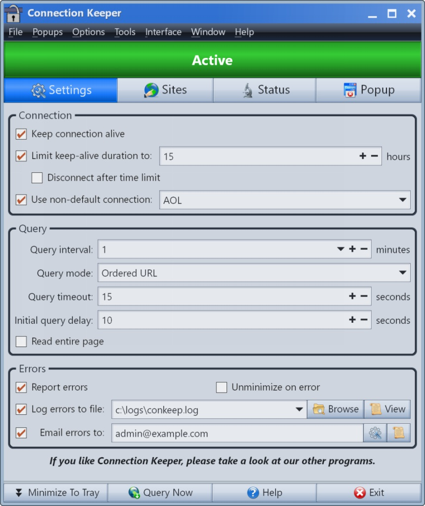 Click to view Connection Keeper screenshots