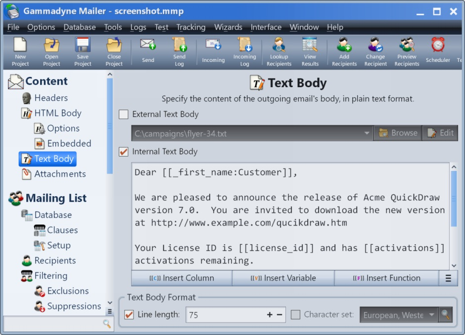 Gammadyne Mailer screenshot of the HTML Body branch, where the HTML body of the email is specified.