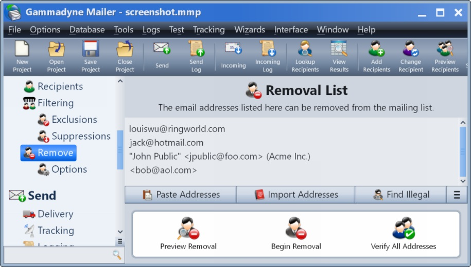 Remove Recipients