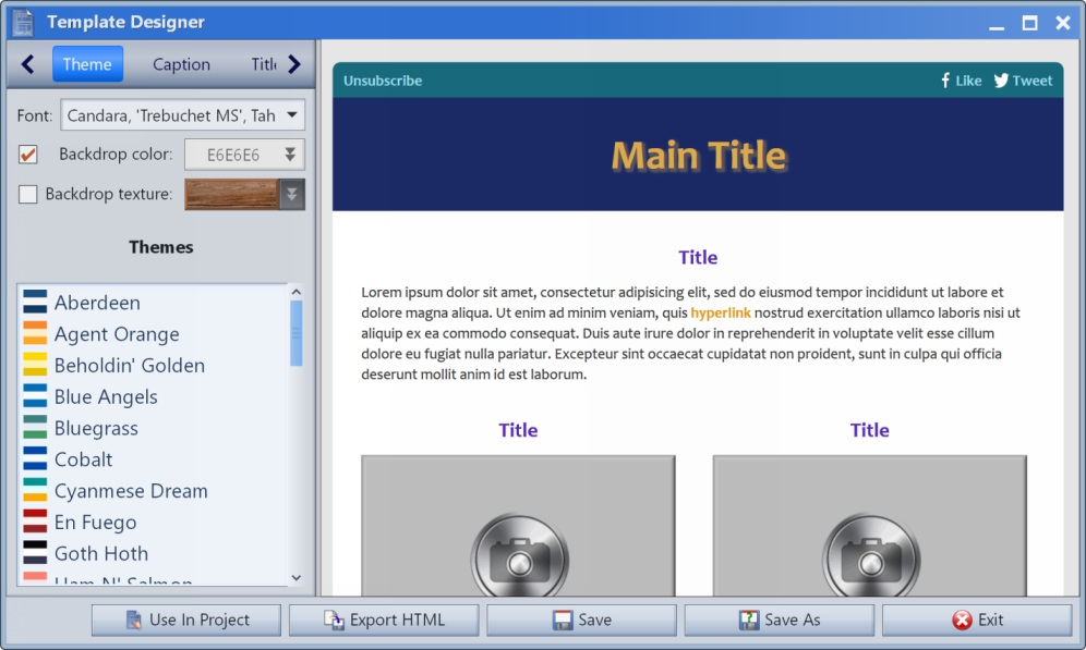 Gammadyne Mailer screenshot of the Template Designer.