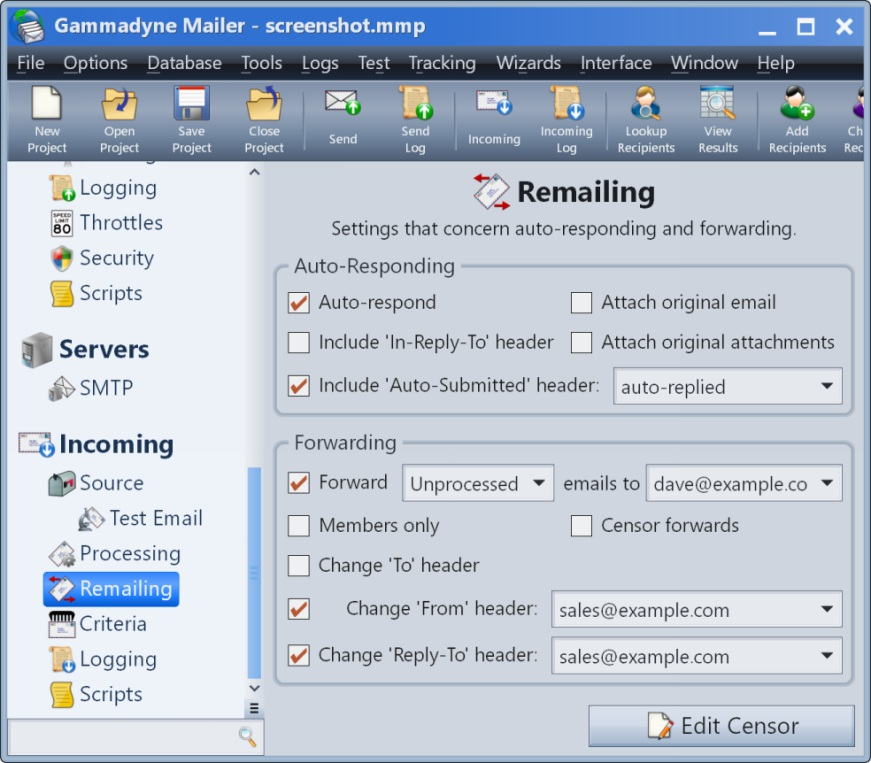 Gammadyne Mailer screenshot of the Remailing branch, where auto-responding and forwarding is configured.